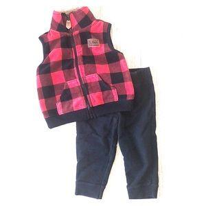 Carter's 18 Month Set Plaid Vest and Joggers EUC
